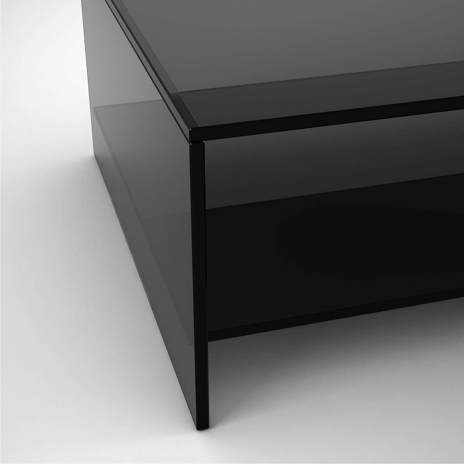 Glass Coffee Tables Uk Only: Rectangular Smoked Glass Coffee Table With Shelf