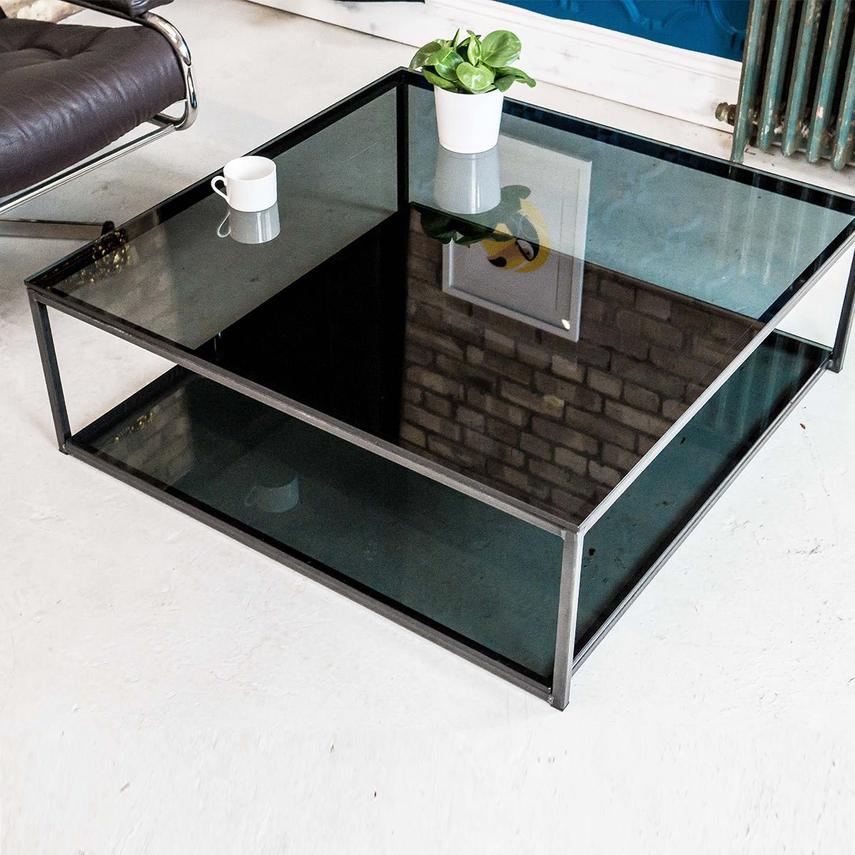 Cubic Industrial Glass Coffee Table With Shelf Klarity Glass Furniture