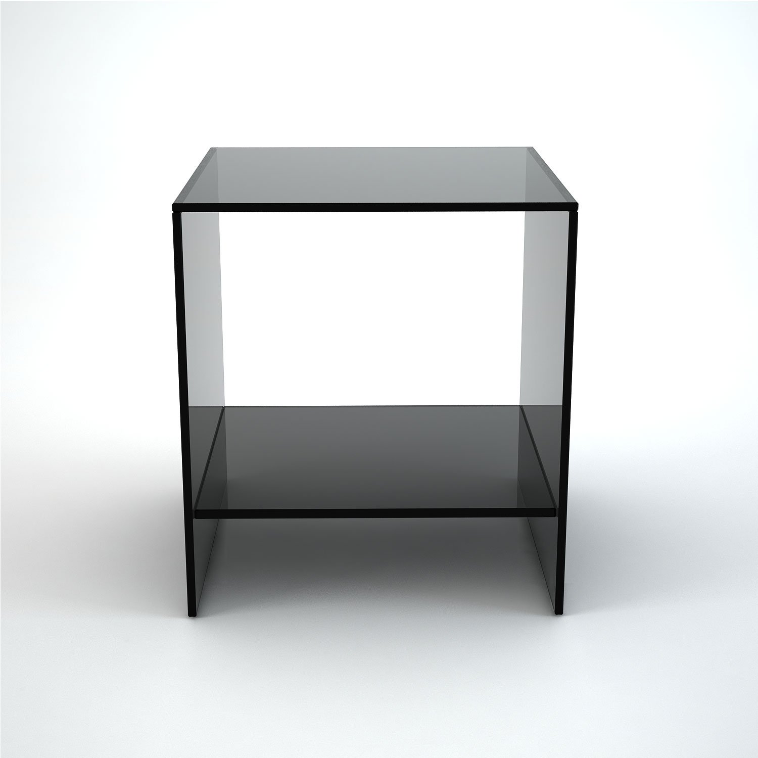 Judd Smoked Glass Side Table With Low Shelf Klarity Glass Furniture