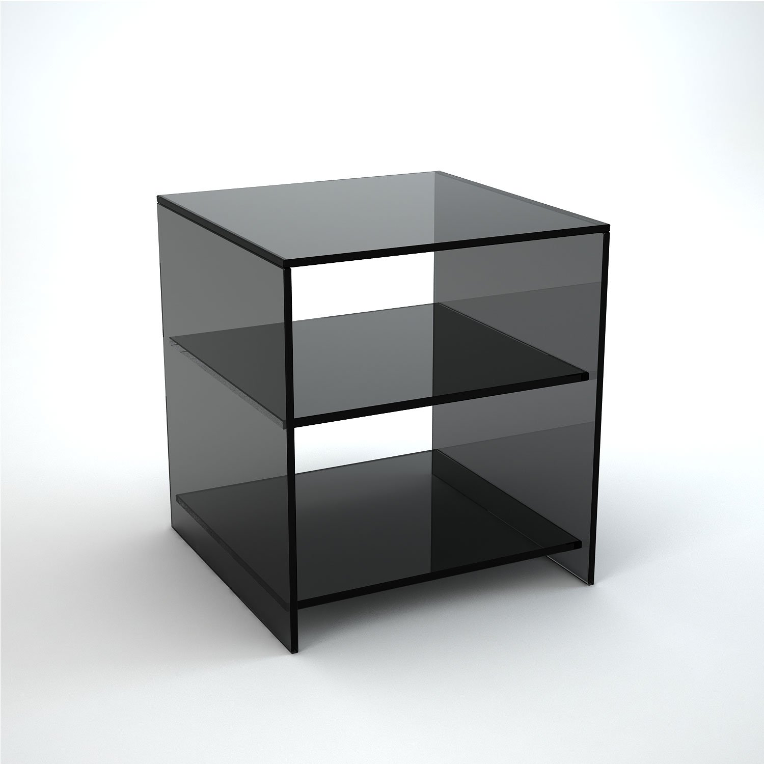 Judd Smoked Glass Side Table With Shelves Klarity