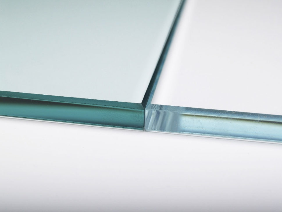 clear glass shown on left and extra clear glass on right as used in our glass furniture