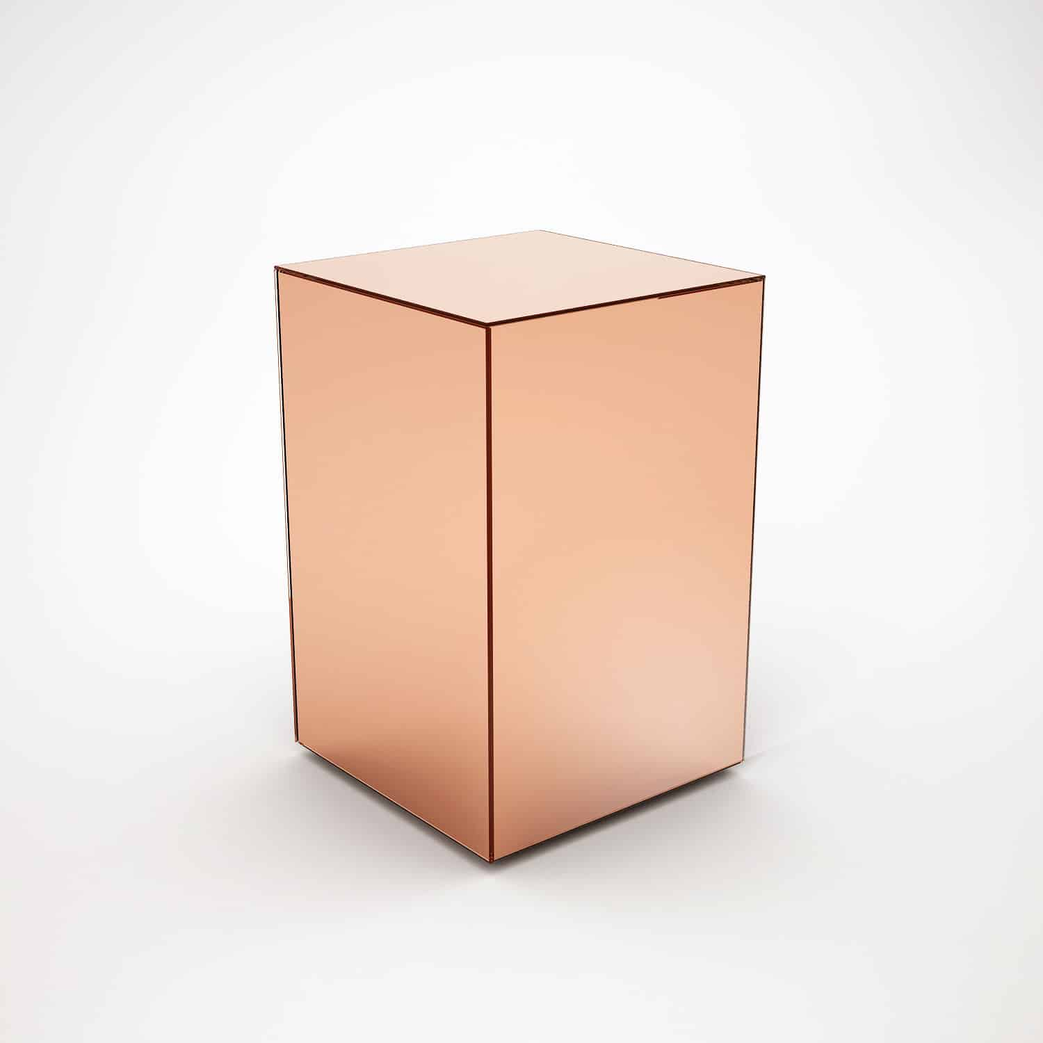 Copper mirrored side table by mirrorbox klarity glass for Glass furniture