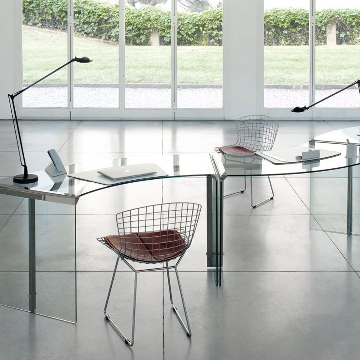 President Curved Glass And Metal Desk By Gallotti Radice