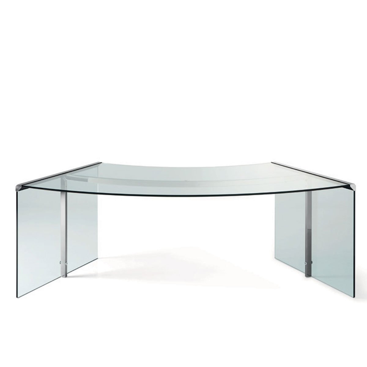 President curved glass and metal desk by gallotti radice klarity glass furniture - Metal and glass desks ...