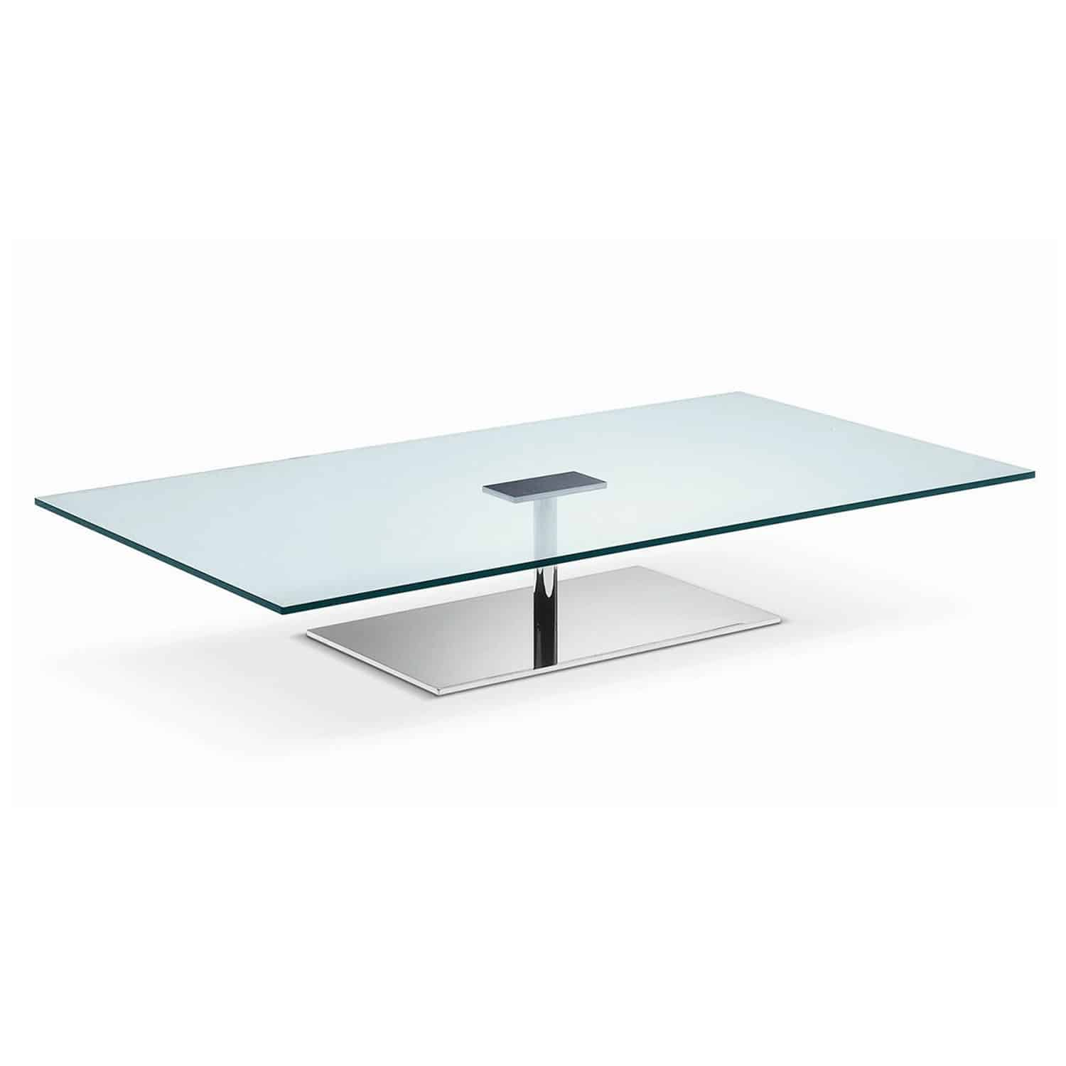 Farniente rectangular glass and metal coffee table by tonelli klarity glass furniture Steel and glass coffee table