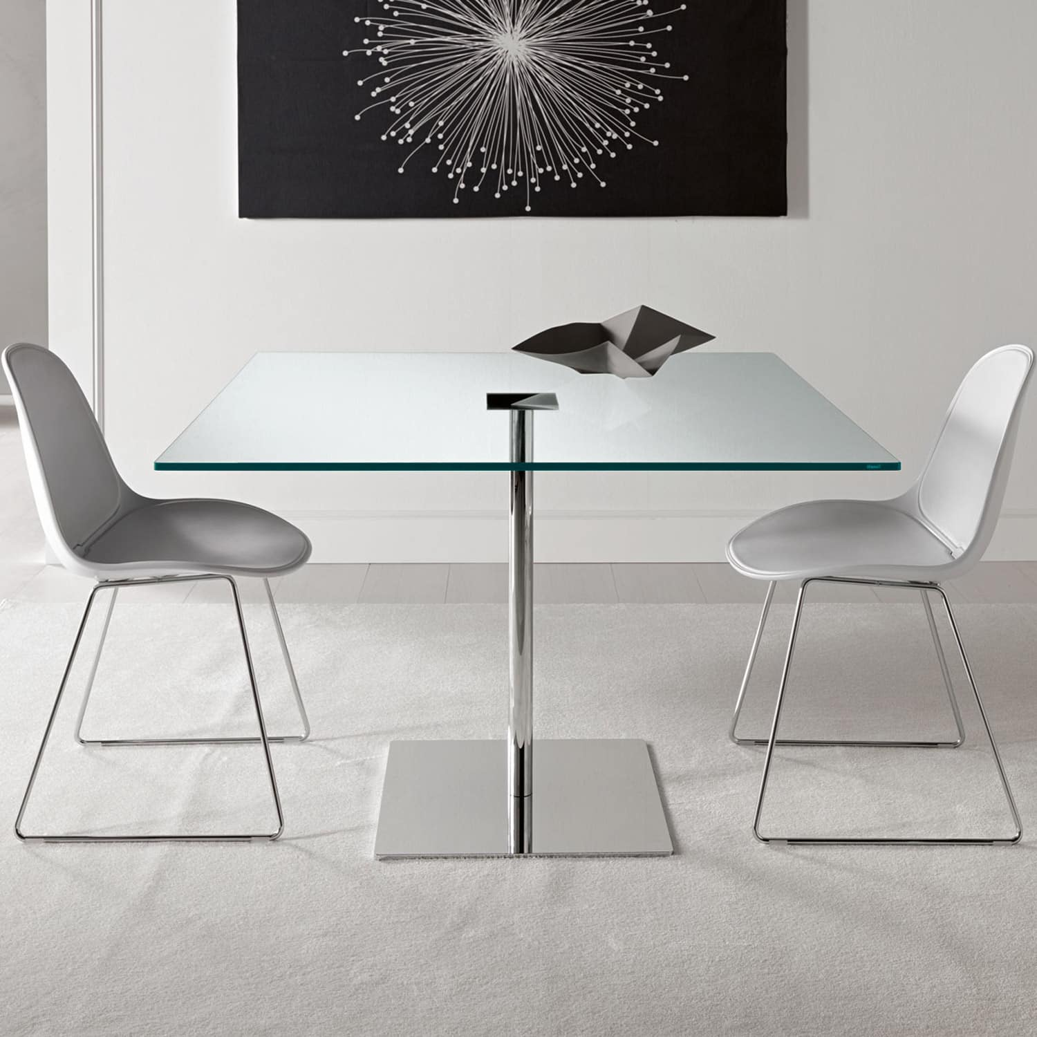 Farniente Square Glass And Metal Dining Table By Tonelli