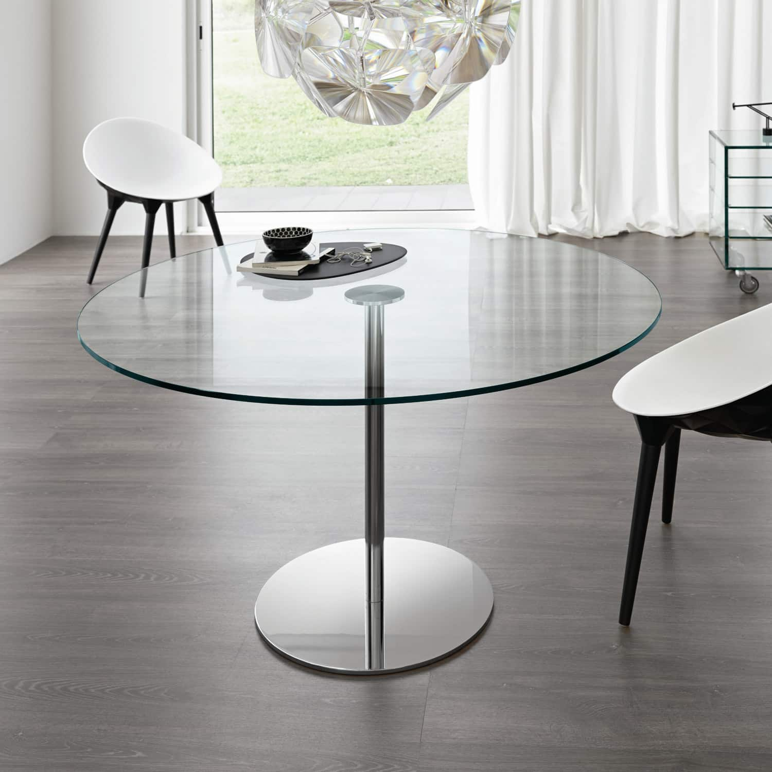 Farniente round glass and metal dining table by tonelli for Glass furniture