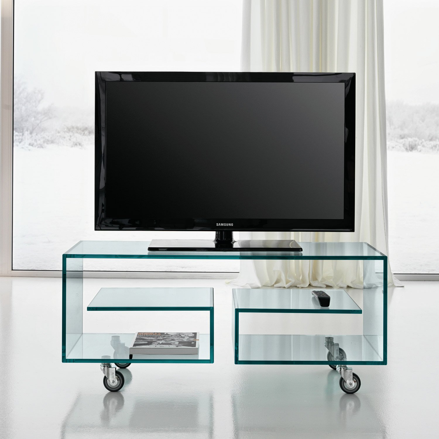 flo glass tv stand by tonelli klarity glass furniture. Black Bedroom Furniture Sets. Home Design Ideas