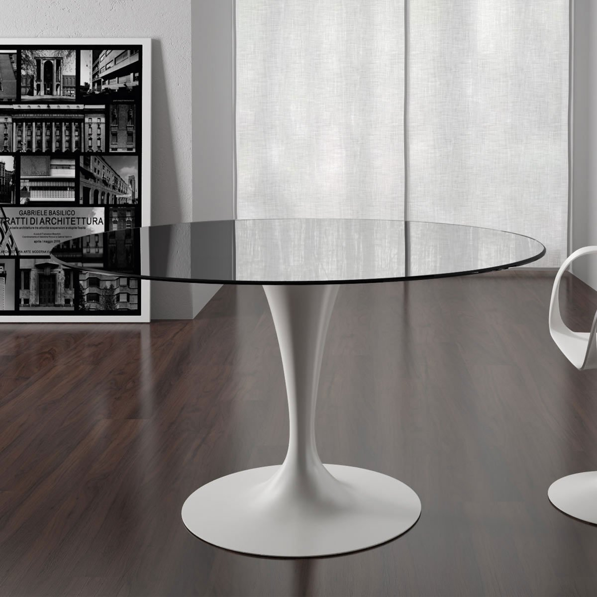 Flute glass dining table with tulip base round klarity for Glass furniture