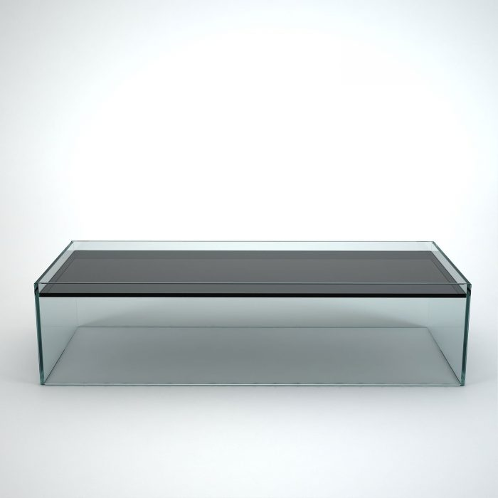 glass coffee table rectangular - recess