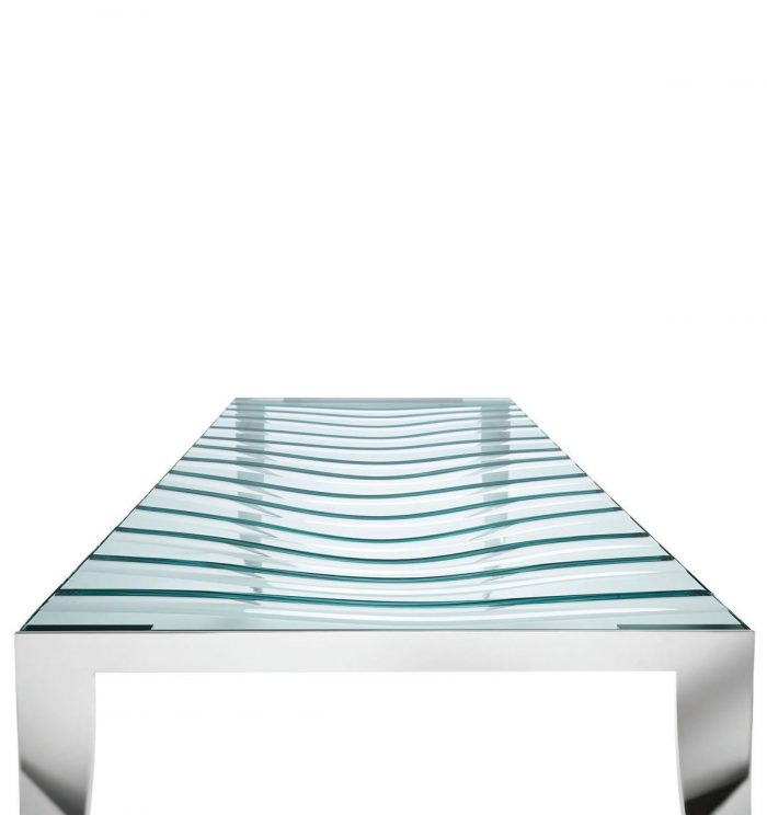 Tonelli luz de luna table - wave carve detail in glass table top
