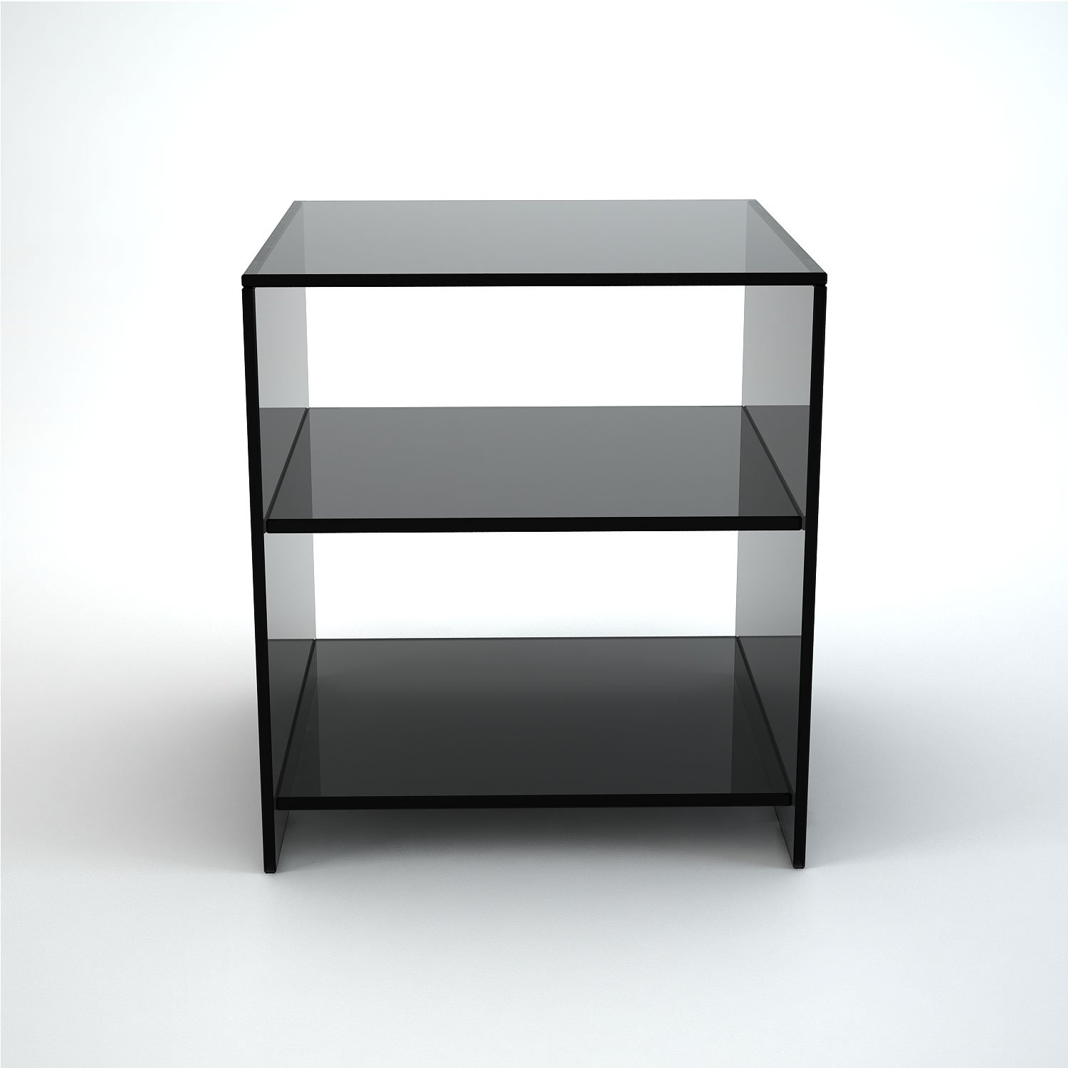 Judd Smoked Glass Side Table With Shelves Klarity Glass Furniture