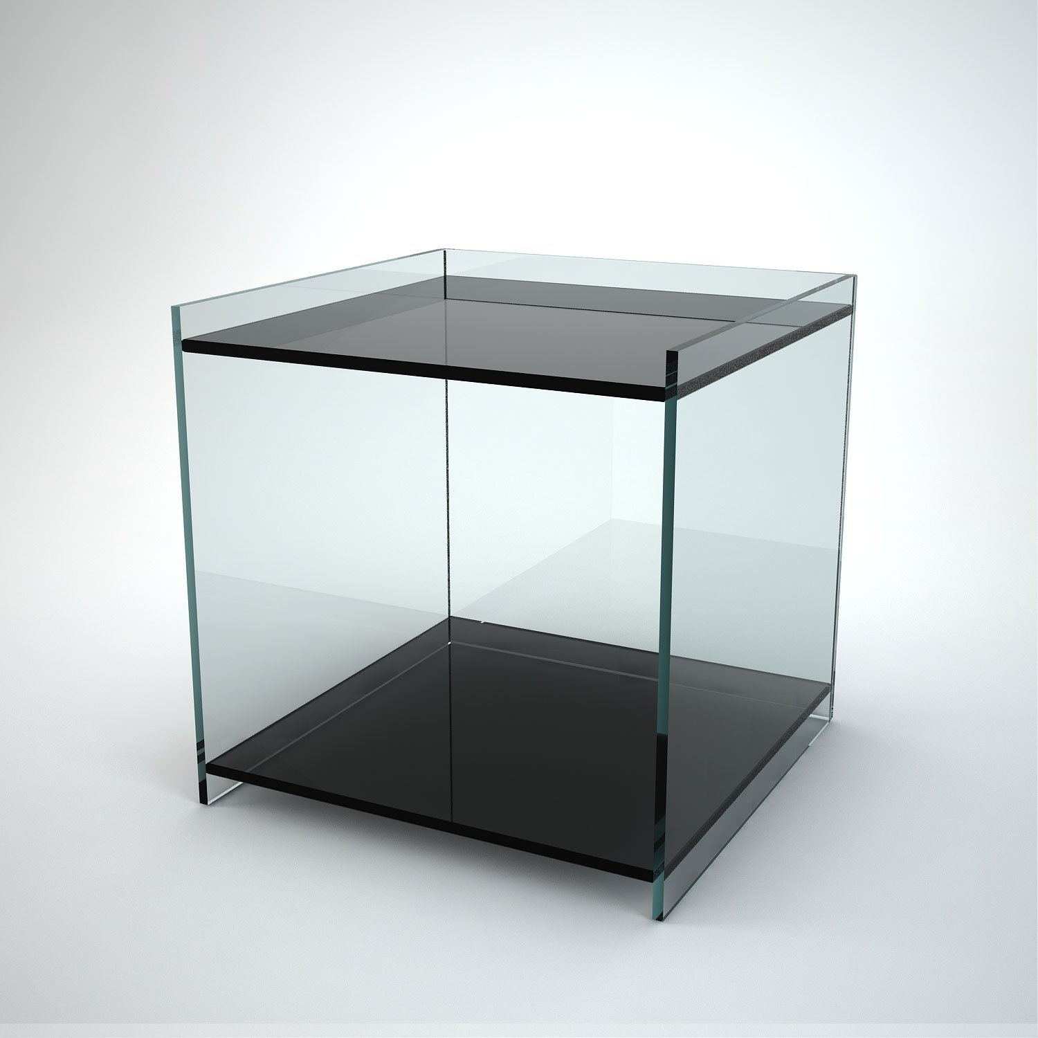 Recess Glass Side Table With 2 Shelves Klarity Glass Furniture