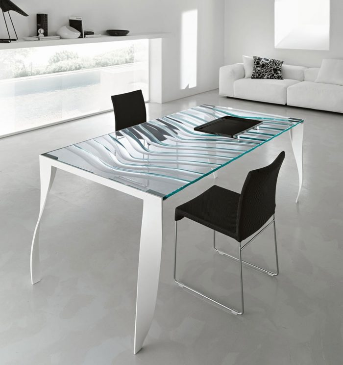 Tonelli luz de luna glass dining table white legs