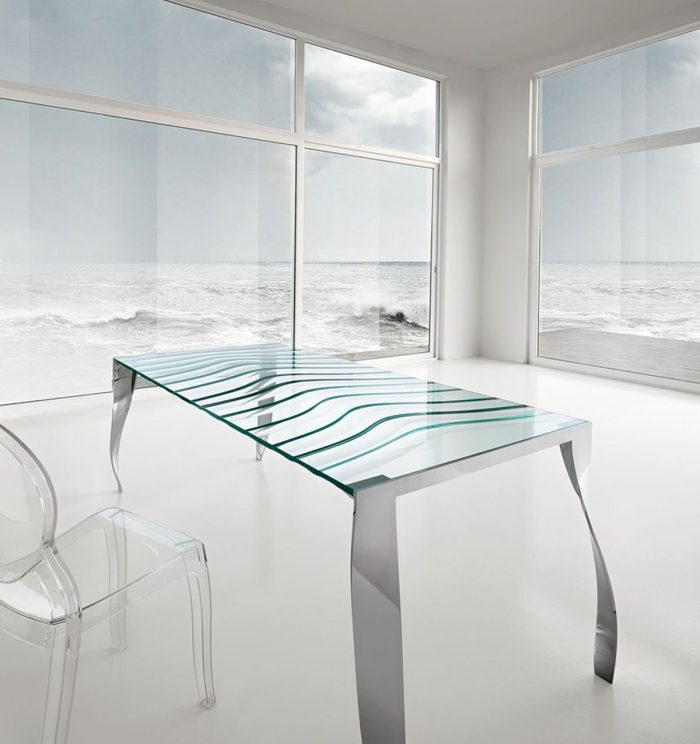 Tonelli design glass dining table luz de luna
