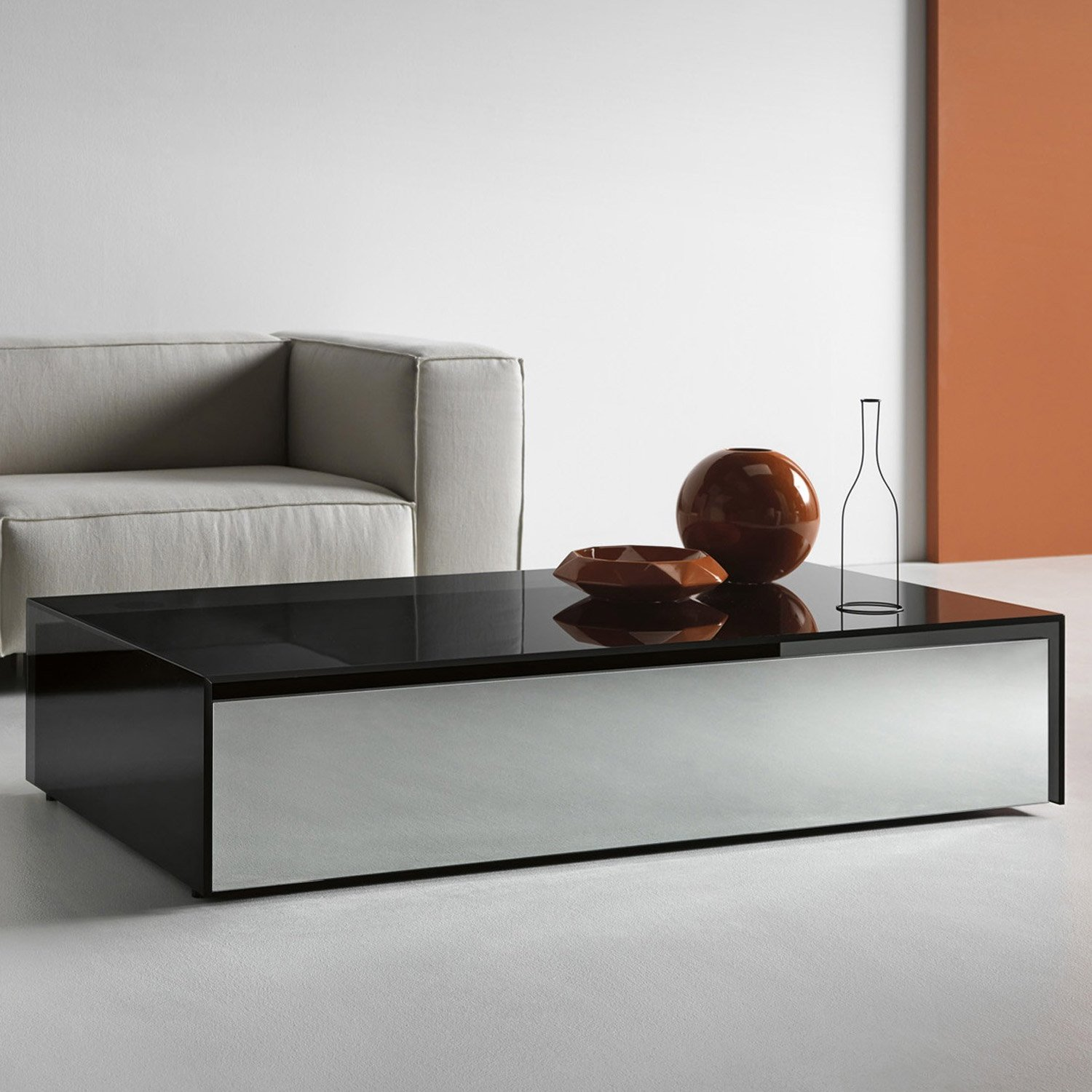 Captivating Gotham Smoked Glass Coffee Table By Tonelli