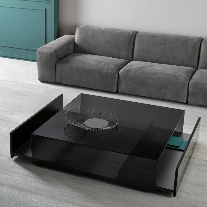 Connection glass and brass coffee table by gallotti for Furniture x connection