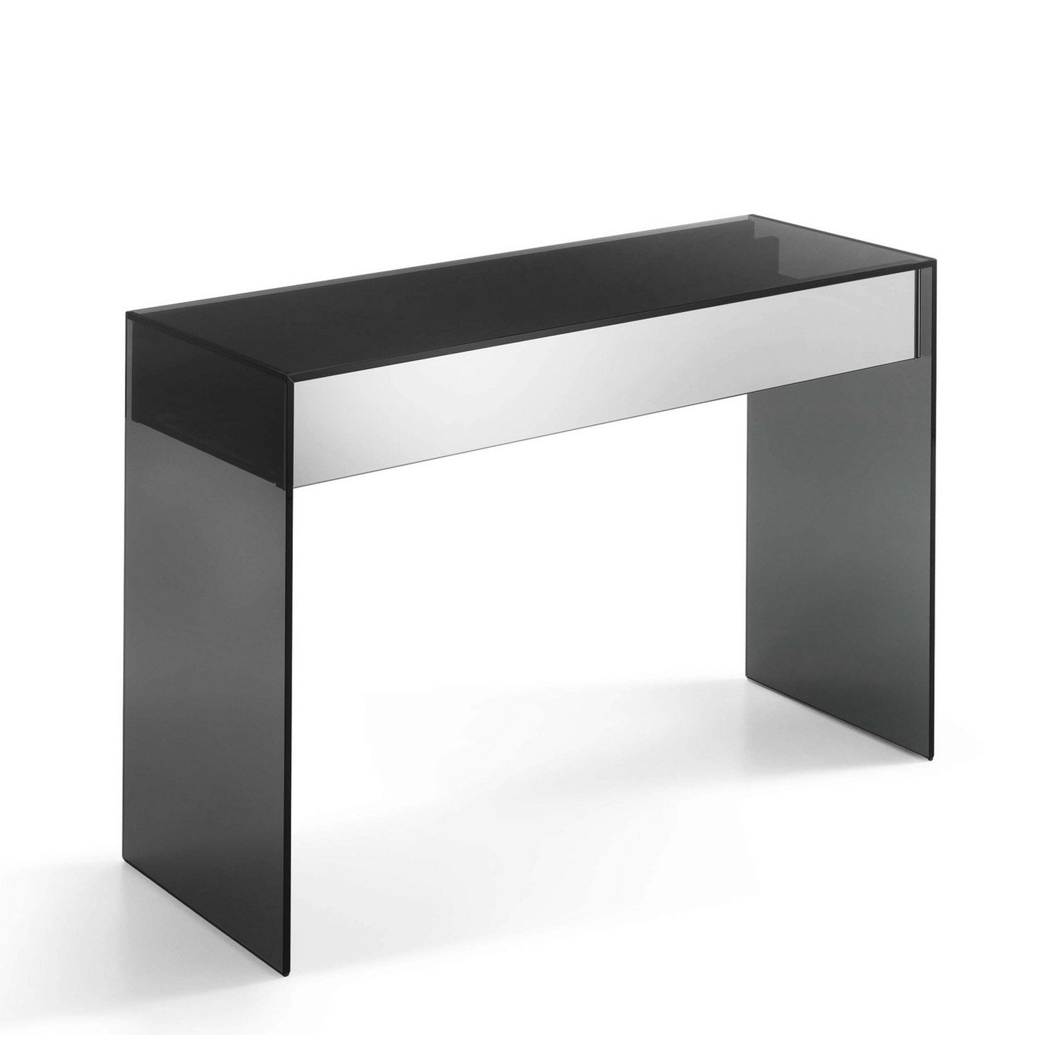 Ghotam Smoked Glass Console Table With Drawer Klarity