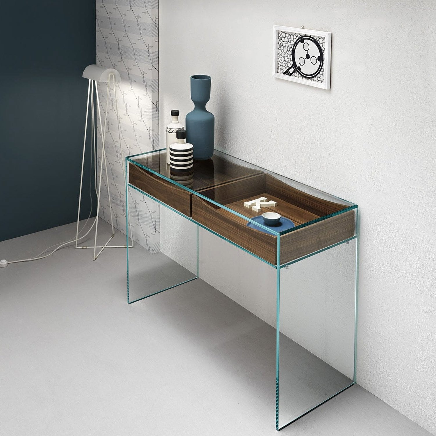 Gulliver glass console table with shelf or drawers by for Glass furniture