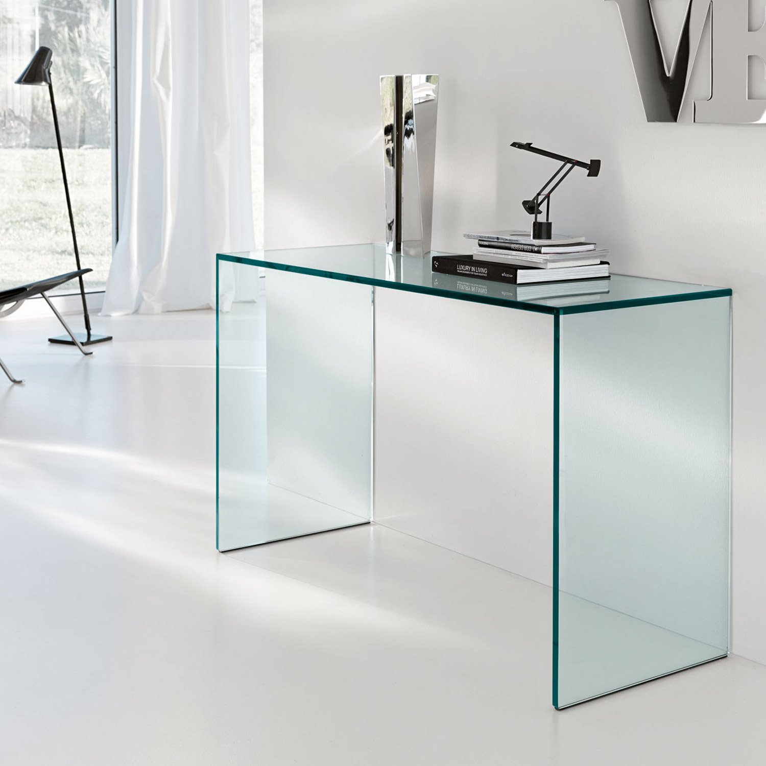 Gulliver Glass Console Table By Tonelli Klarity Glass