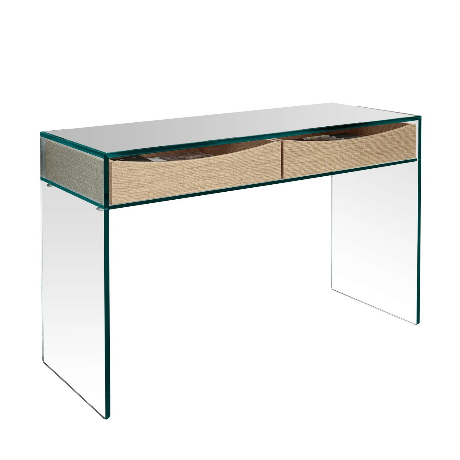 Gulliver Glass Console Table With Shelf Or Drawers By