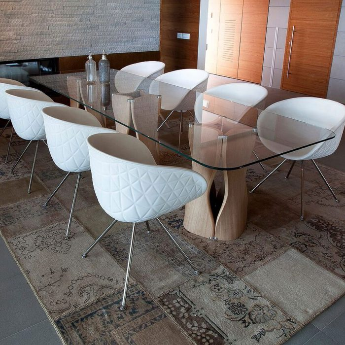 large glass and wood dining table