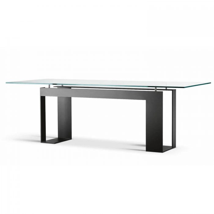 miles glass and metal dining table by tonelli