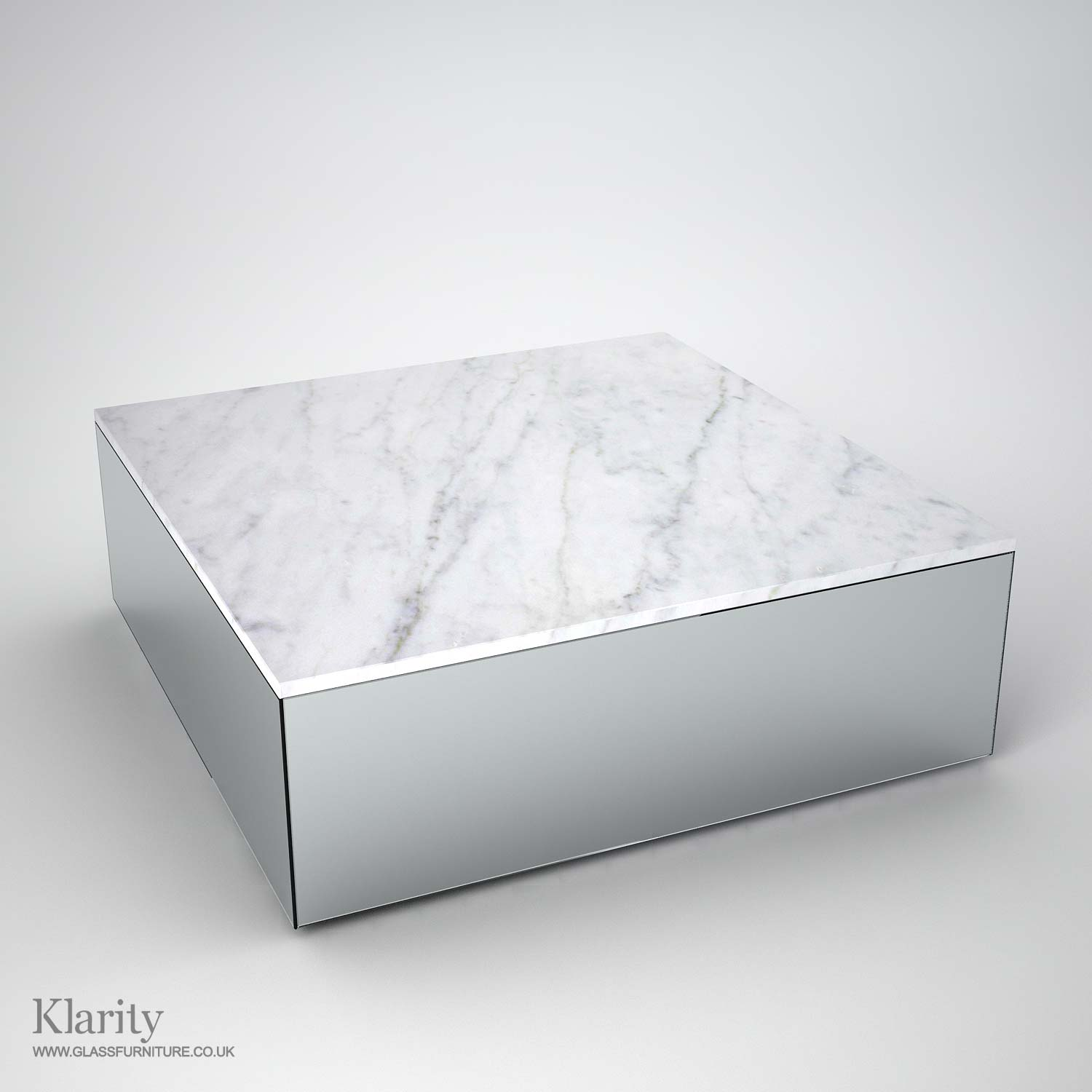 Mirror And Marble Coffee Table By Mirrorbox Klarity Glass Furniture