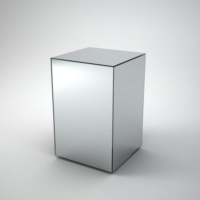 Mirrored side table by mirrorbox klarity Mirror glass furniture