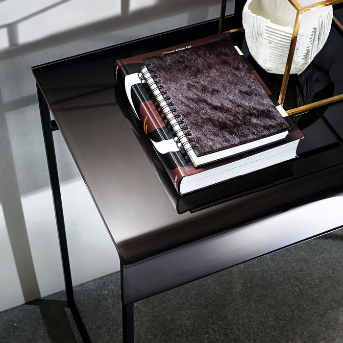 black glass console table