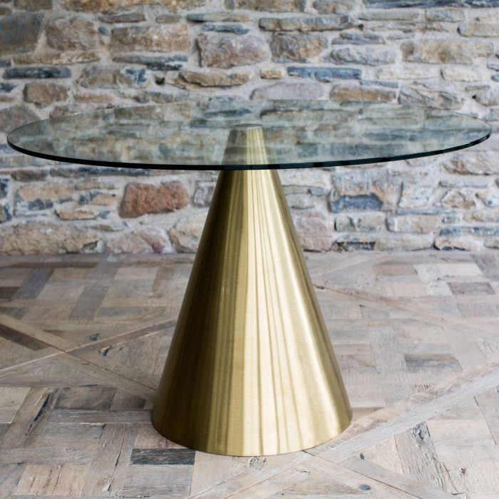 Brass and Glass Circular Dining Table