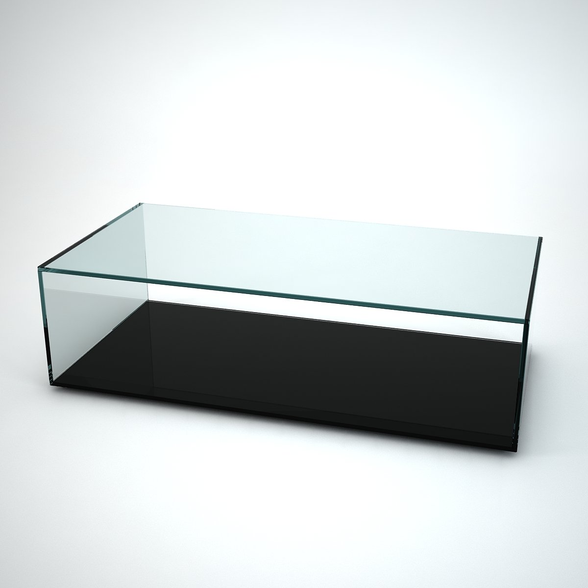 Quebec glass coffee table with black base