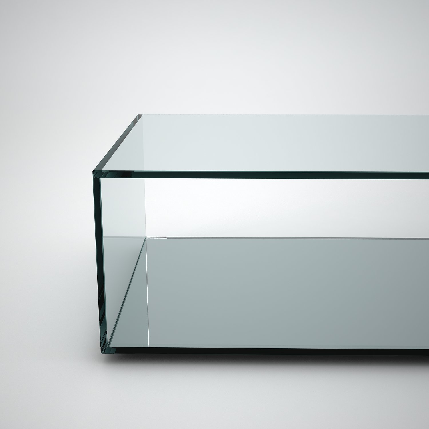 Quebec Rectangular Glass Coffee Table With Mirror Base Klarity Glass Furniture [ 1500 x 1500 Pixel ]
