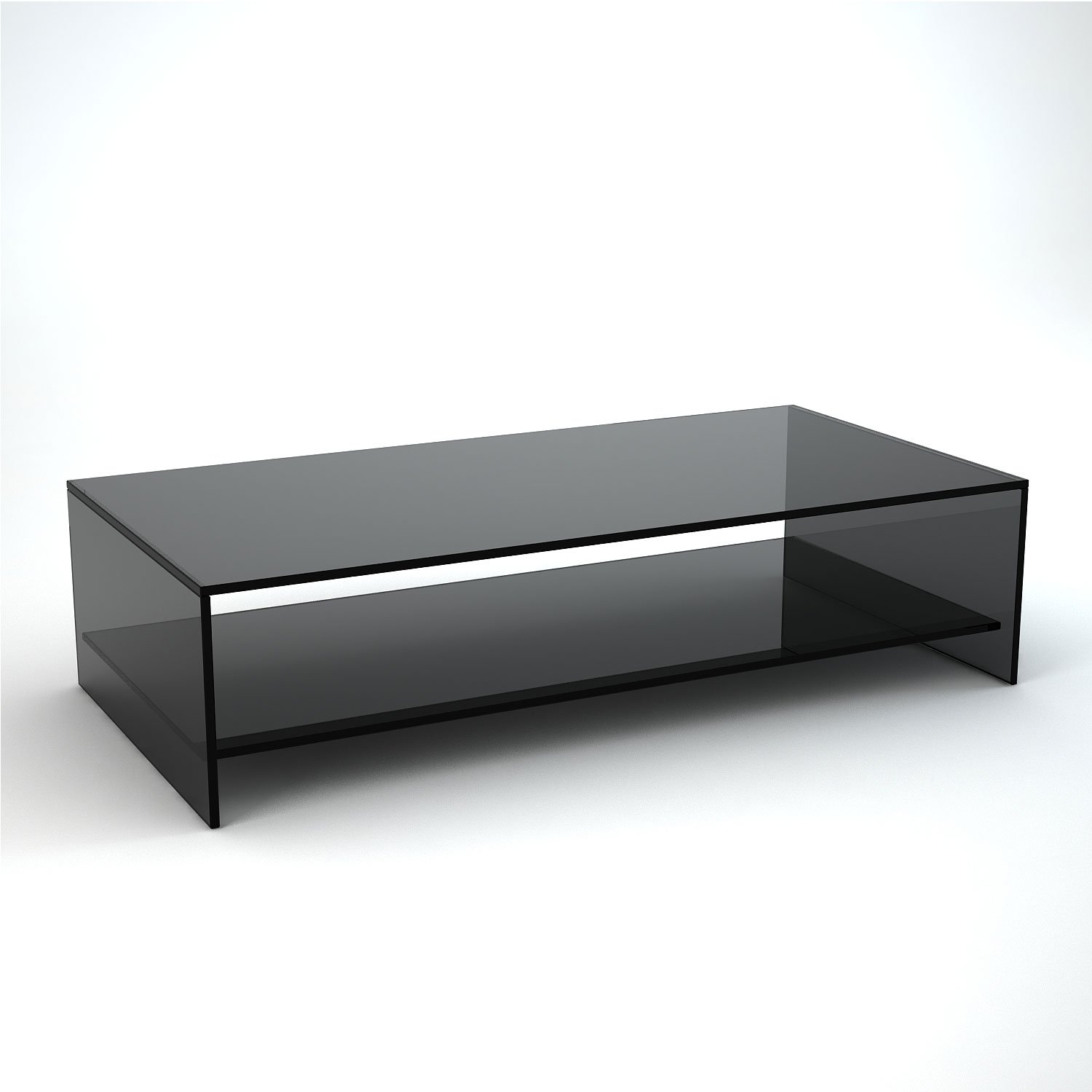 Judd Rectangular Smoked Glass Coffee Table With Shelf Klarity Glass Furniture
