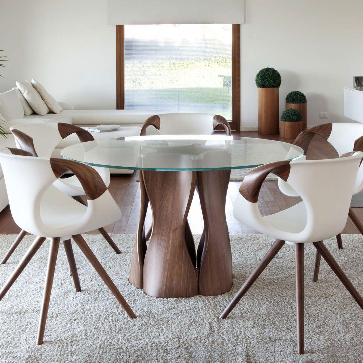 Glass Top Table Klarity Furniture, Glass Dining Room Table With Wood Base