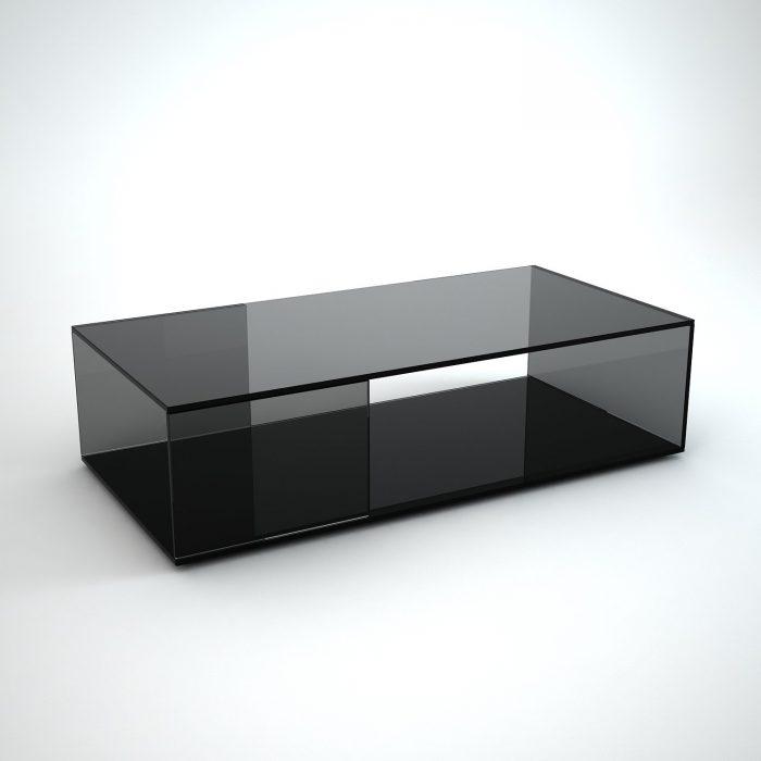 Tifino Rectangular Grey Tint Glass Coffee Table By Klarity