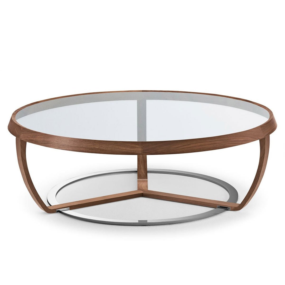 Time walnut and glass coffee table klarity glass furniture for Glass furniture