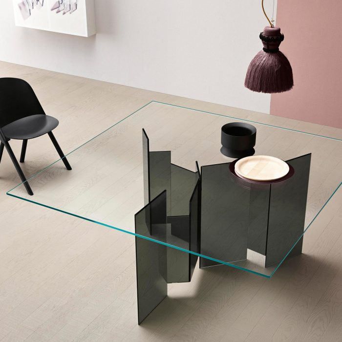 metropolis tonelli glass table