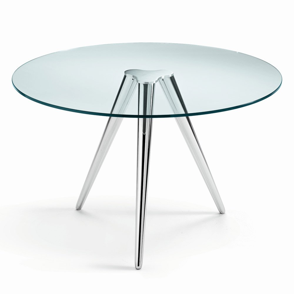 Unity round glass dining table by tonelli klarity for Glass kitchen table