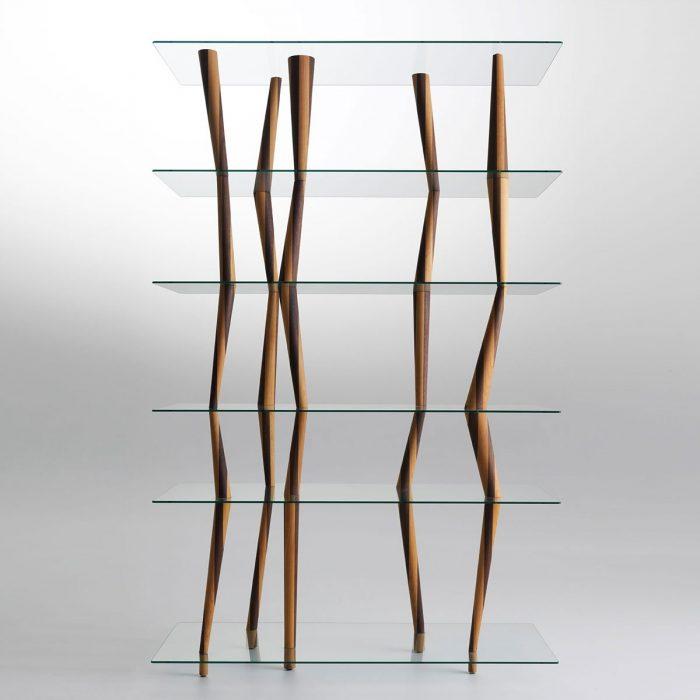 wood and glass book shelf