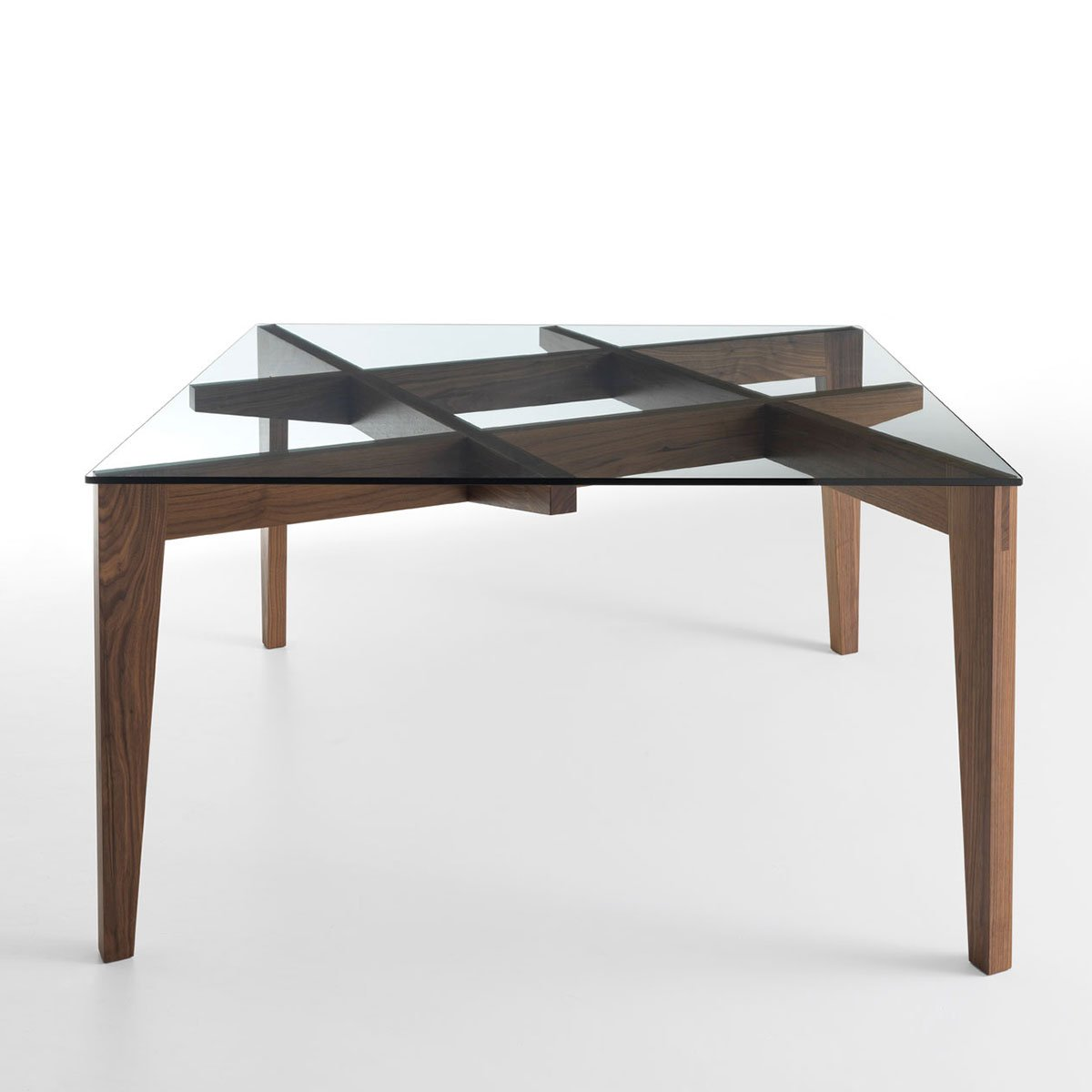 Autoreggente wood glass dining table klarity glass for Dining table designs in wood and glass