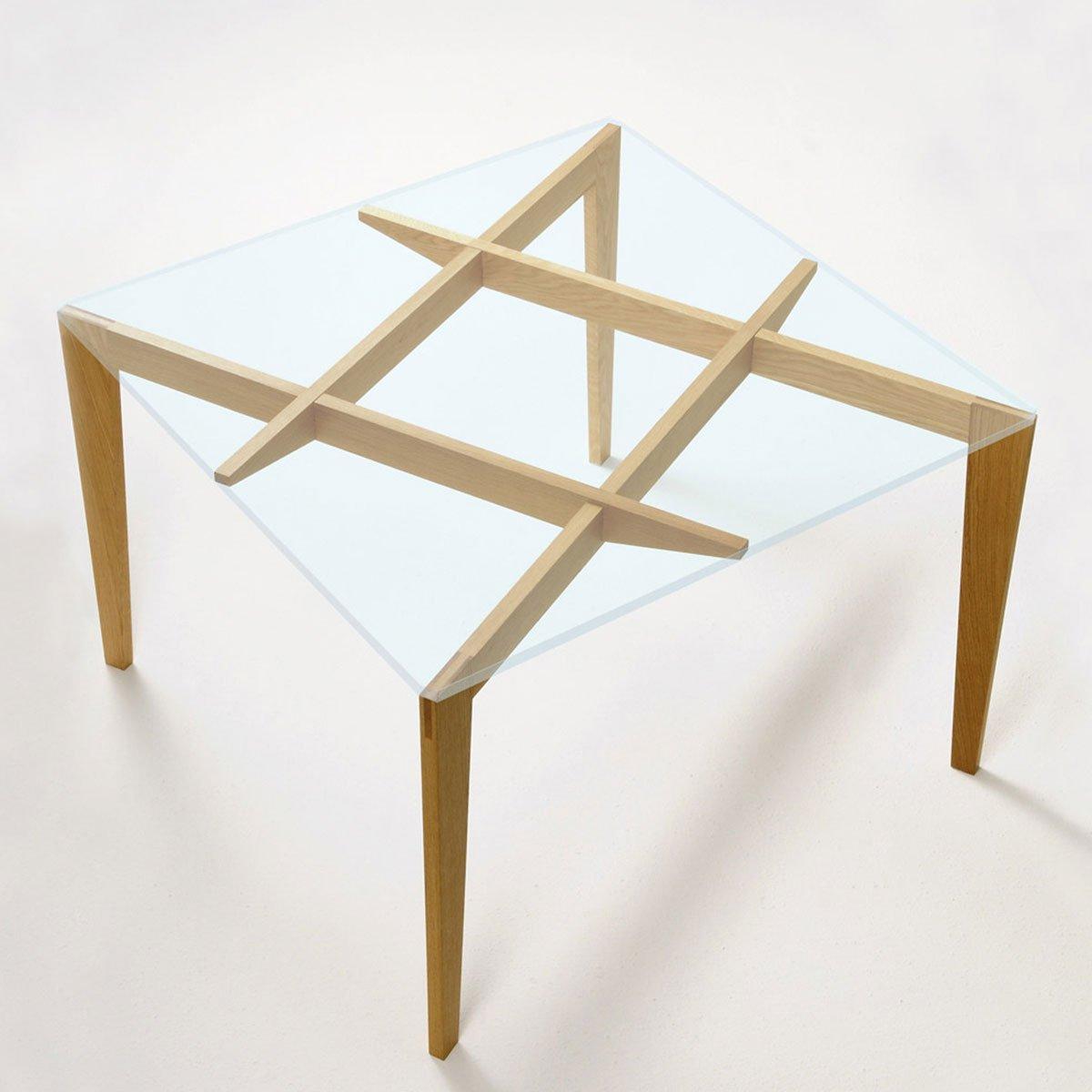 Autoreggente wood glass dining table klarity