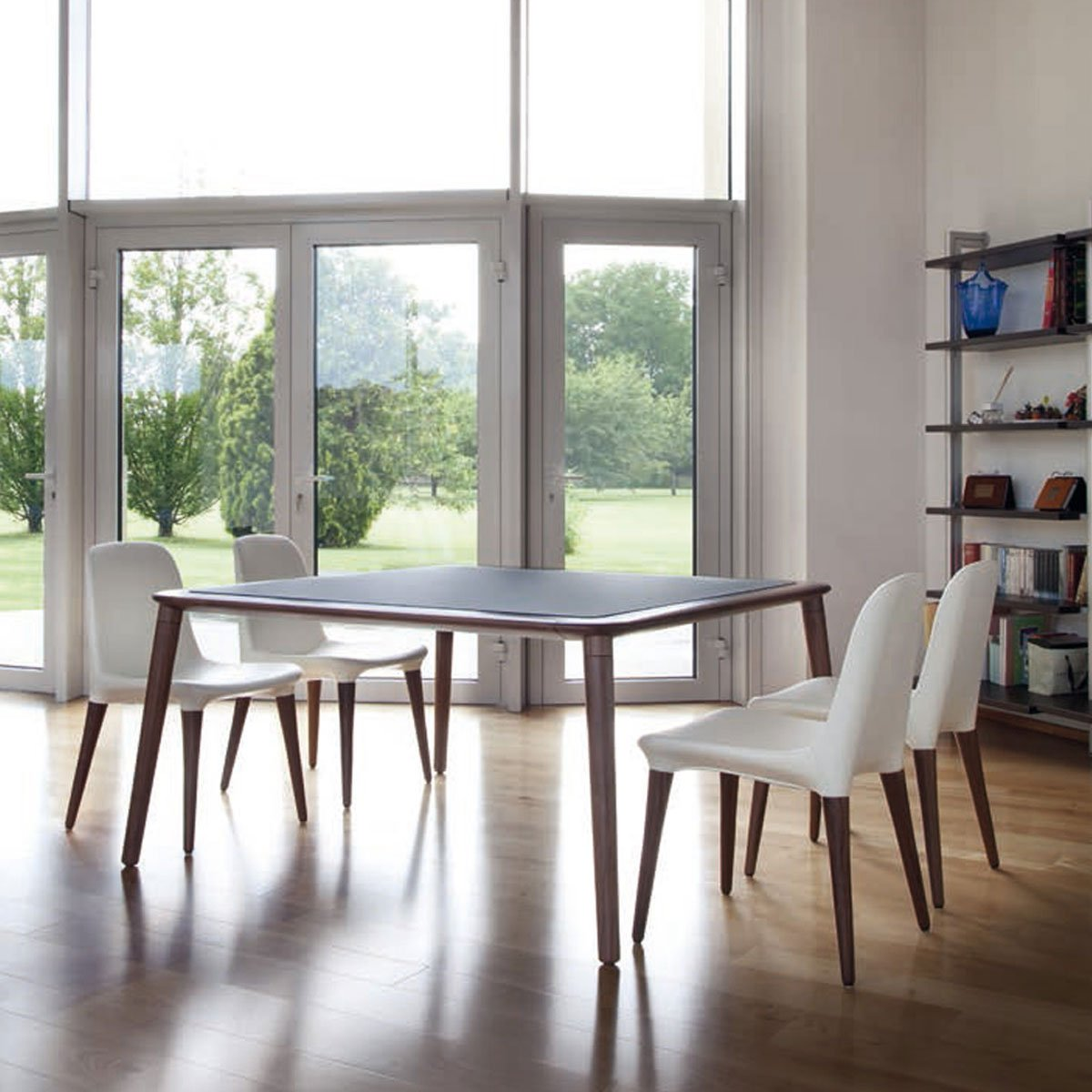 jonathan wooden dining table with glass top klarity. Black Bedroom Furniture Sets. Home Design Ideas