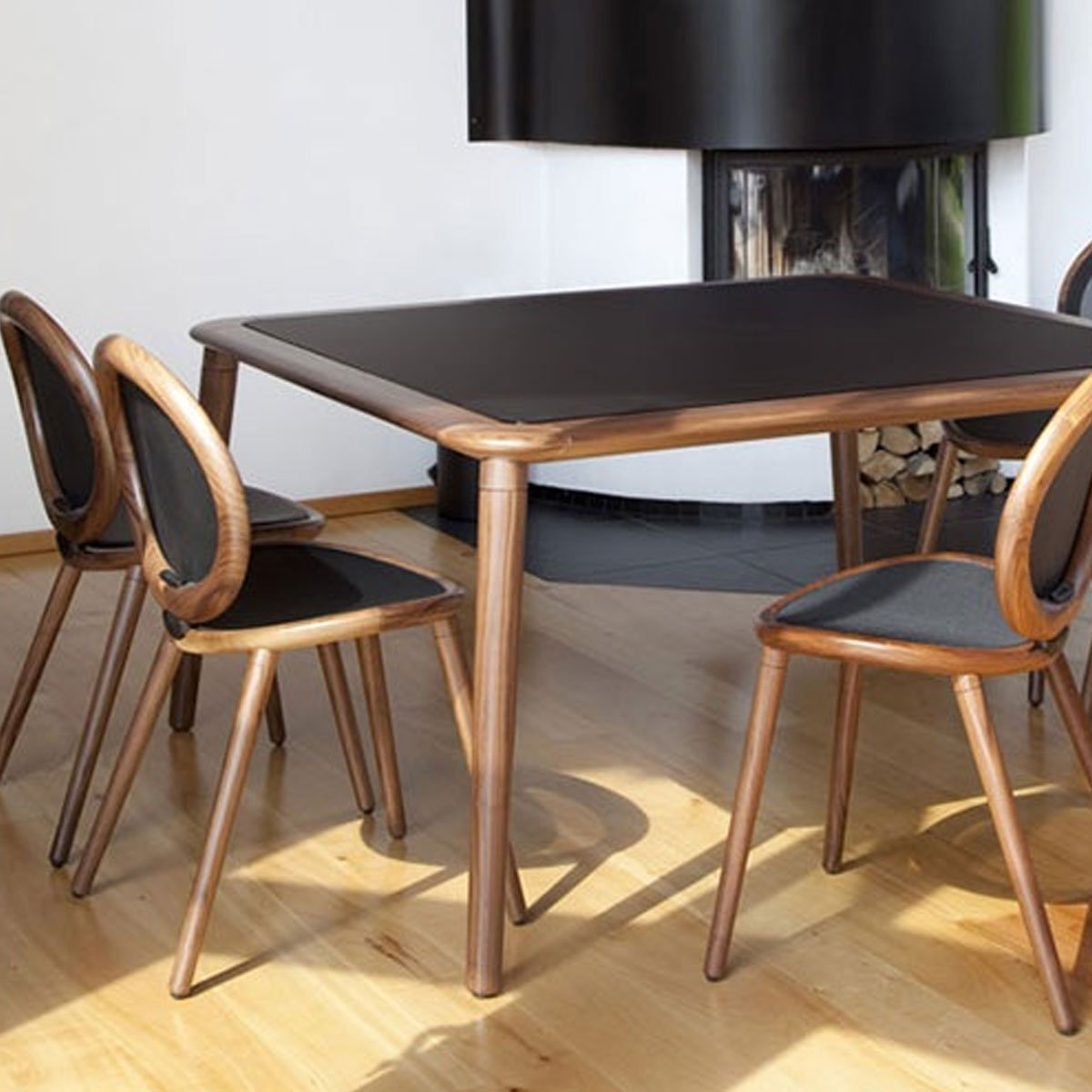 Jonathan - wooden dining table with Glass top - Klarity ...