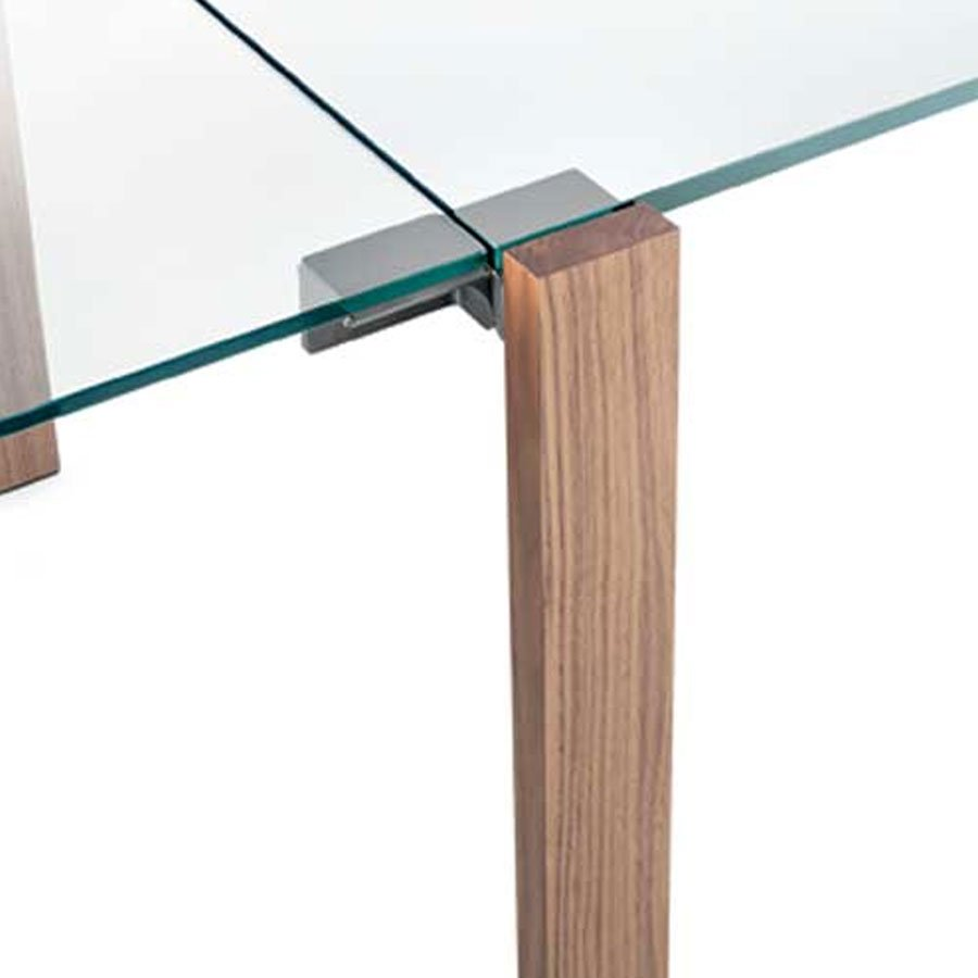 Livingstone Extending Wood And Glass Dining Table By