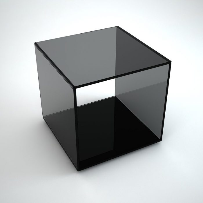 Grey Mirrored Side Table By Mirrorbox Klarity Glass Furniture