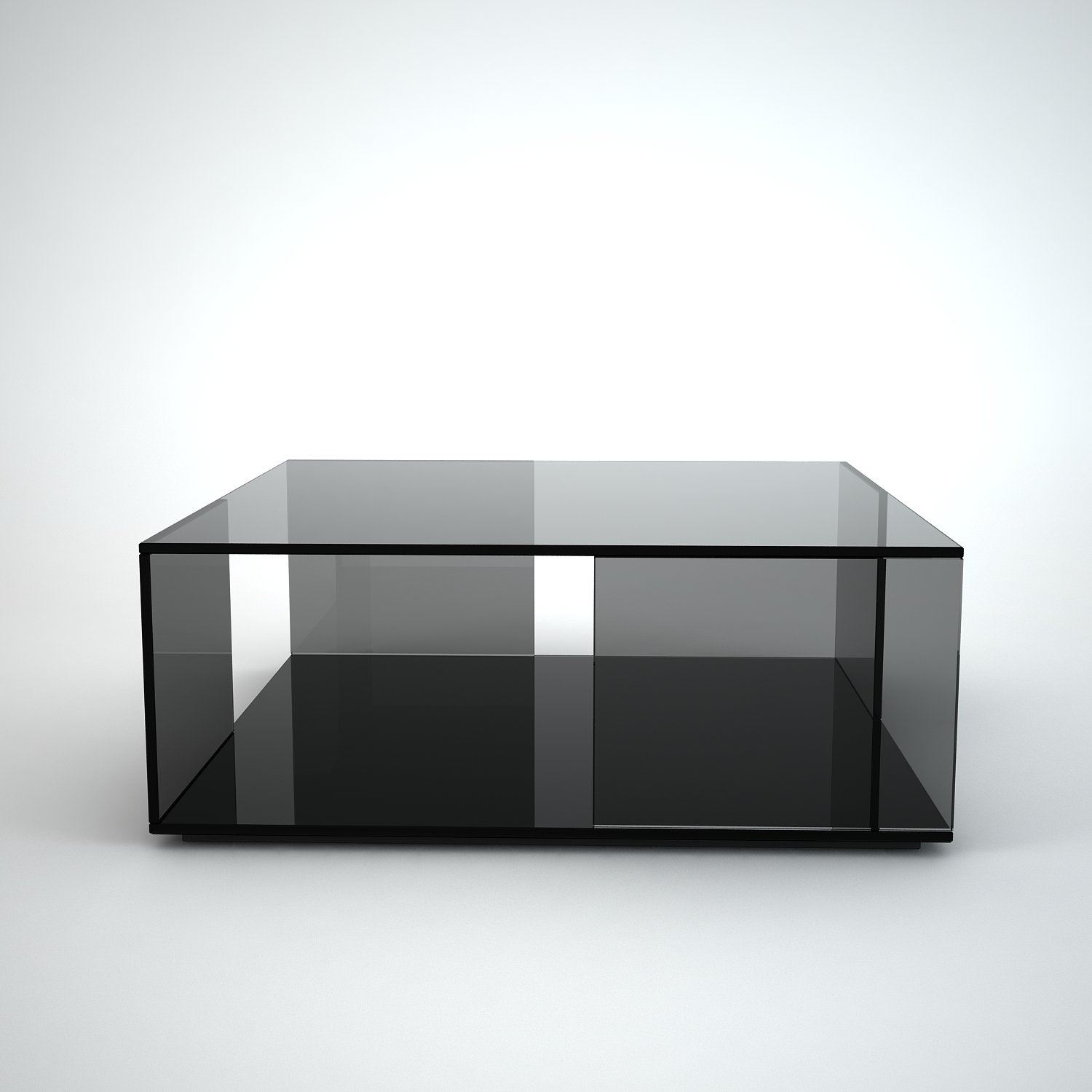 Tifino square grey tint glass coffee table by klarity klarity glass furniture Black coffee table with glass