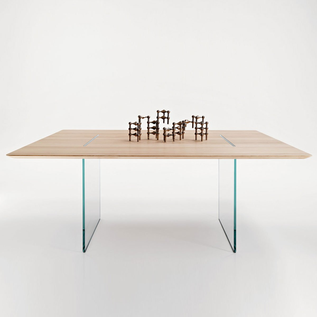 Tavolante glass and wood dining table klarity glass for Glass and wood dining table