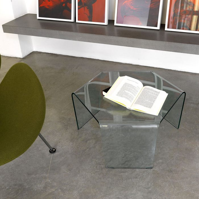 3 Feet Curved Glass Coffee Table by Sovet Italia