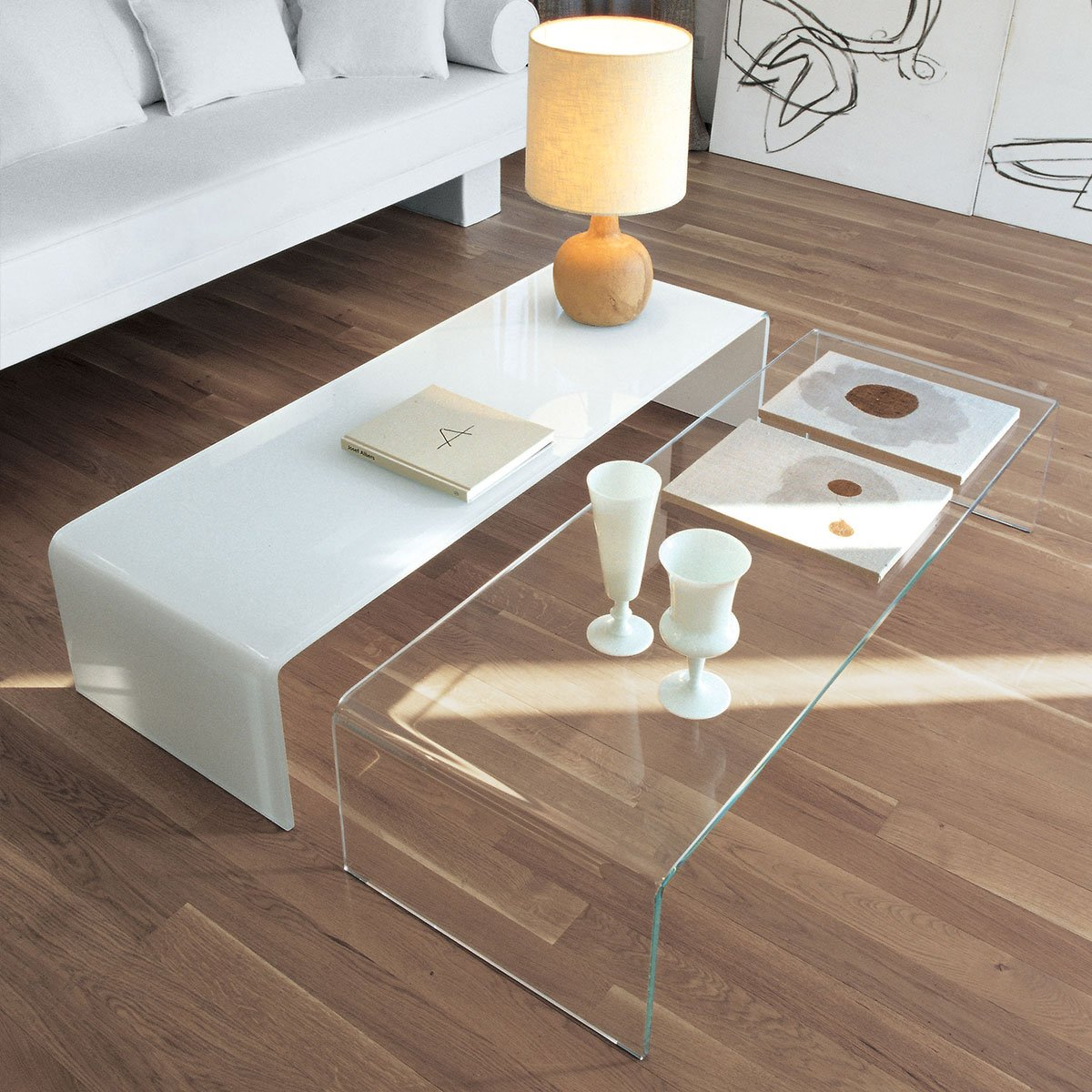 Sovet bridge coffee table klarity glass furniture for Glass furniture
